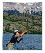Fly Fishing In Patagonia Fleece Blanket