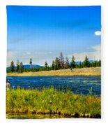 Fly Fishing In Yellowstone Fleece Blanket