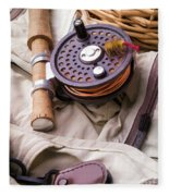 Fly Fishing Still Life Fleece Blanket