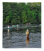 Fly Fishing West Penobscot River Maine Fleece Blanket