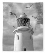 Fly Past - Seagulls Round Southwold Lighthouse In Black And White Fleece Blanket