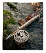 Fly Rod And Reel Detail On Mossy Wet Fleece Blanket