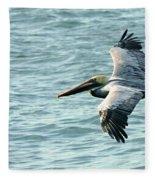 Flying Brown Pelican  Fleece Blanket
