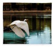Flying Egret Fleece Blanket