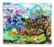 Flying Fish Tree And Bubbles Fleece Blanket