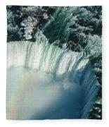 Flying Over Icy Niagara Falls Fleece Blanket