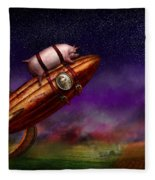 Flying Pig - Rocket - To The Moon Or Bust Fleece Blanket