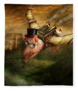 Flying Pig - Steampunk - The Flying Swine Fleece Blanket