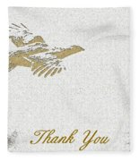 Flying Ruffed Grouse Thank You Fleece Blanket