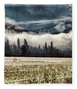 Fog Beyond The Tilled Field  Fleece Blanket