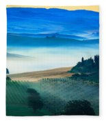Fog In Tuscan Valley Fleece Blanket
