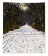 Fog On The Winter Macomb Orchard Trail Fleece Blanket