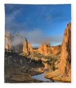 Fog Over Smith Rock Fleece Blanket