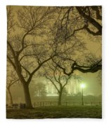Foggy Approach To The Lincoln Memorial Fleece Blanket