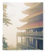 Foggy At The Reading Pagoda Fleece Blanket