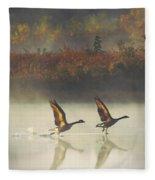 Foggy Autumn Morning Fleece Blanket