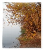 Foggy Autumn Riverbank Fleece Blanket