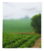 Foggy Bean Field Fleece Blanket