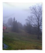 Foggy Cabin And Hillside Fleece Blanket