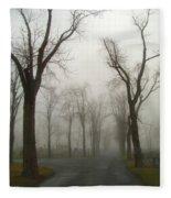 Foggy Cemetery Road Fleece Blanket