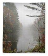 Foggy Fall River Fleece Blanket