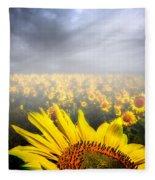 Foggy Field Of Sunflowers Fleece Blanket