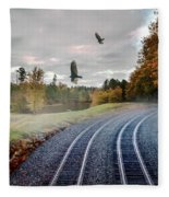 Foggy Nature Along The Train Tracks Fleece Blanket