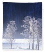 Foggy Sunrise In Yellowstone National Park Fleece Blanket