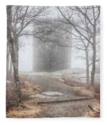 Foggy View Of The Summit Of Mount Battie Fleece Blanket