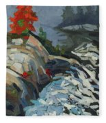 Foggy Whitefish Rapids Fleece Blanket