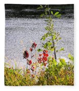 Foliage Along Iowa River Iowa City Ia Fleece Blanket