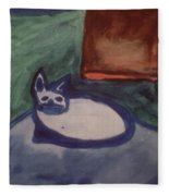 Folk Art Cat Fleece Blanket