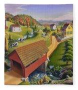 Folk Art Covered Bridge Appalachian Country Farm Summer Landscape - Appalachia - Rural Americana Fleece Blanket