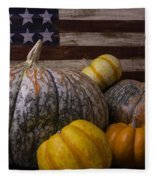 Folk Art Flag And Pumpkins Fleece Blanket