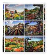 Folk Art Seasonal Seasons Sampler Greetings Rural Country Farm Collection Farms Landscape Scene Fleece Blanket