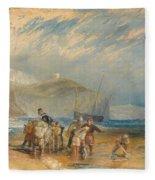 Folkestone Harbour And Coast To Dover Fleece Blanket