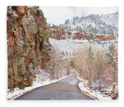 Follow The Red Rock Ridge Winter Road  Fleece Blanket