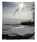 Foot Prints Along The Shore Fleece Blanket