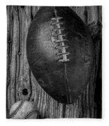 Football And Baseball Fleece Blanket