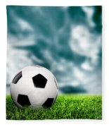 Football Soccer A Leather Ball On Grass Fleece Blanket