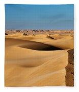 Footprints And 4x4 Offroad Car In Landscape Of Endless Dunes In Sand Desert  Fleece Blanket