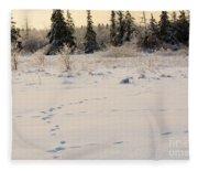 Footprints In Fresh Snow Fleece Blanket