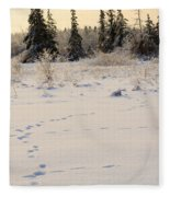 Footprints In Fresh Snow Fleece Blanket