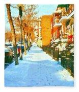 Footprints In The Snow Montreal Winter Street Scene Paintings Verdun Christmas  Memories  Fleece Blanket