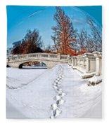 Footprints In The Snow - Sphere Fleece Blanket