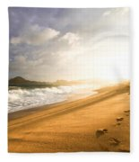 Footsteps In The Sand Fleece Blanket