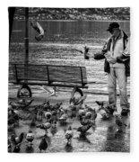 For The Birds Bw Fleece Blanket