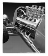 Ford Coupe Hot Rod Engine In Black And White Fleece Blanket