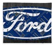 Ford Motor Company Retro Logo License Plate Art Fleece Blanket