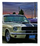 Ford Mustang At Sunset Fleece Blanket
